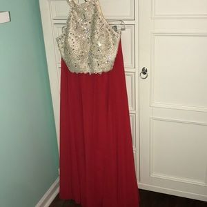 Two Piece Red and Gold Prom Dress